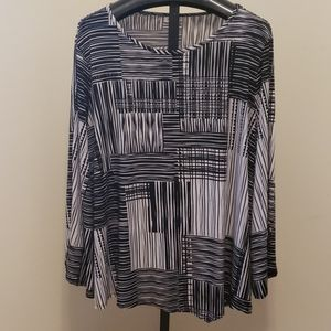 Avenue black and white long sleeve shirt